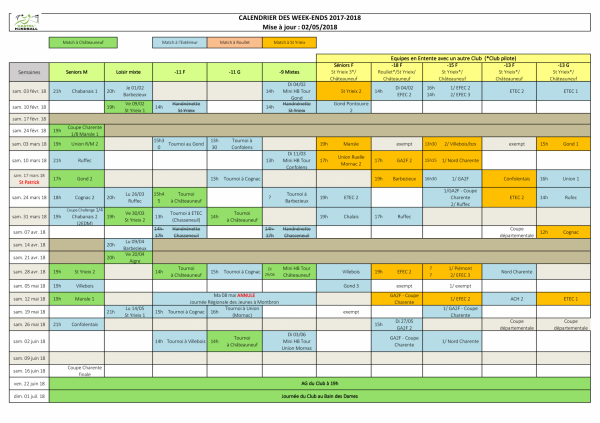 2017 2018 calendrier des matchs du week end2 29